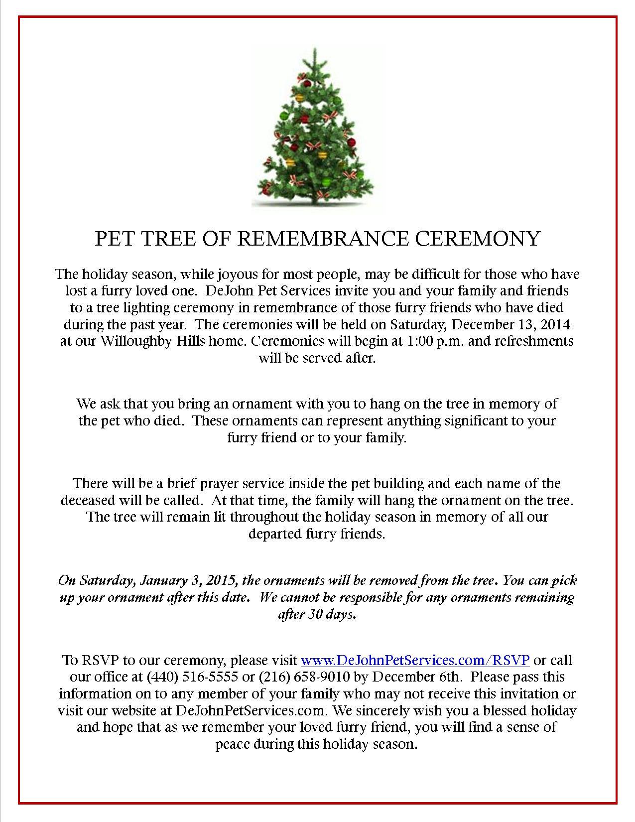 Pet Tree Ceremony 2014