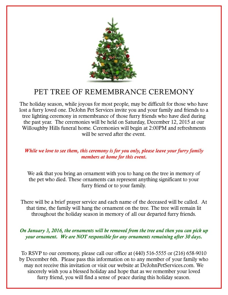Pet Tree Ceremony 2015